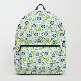 Green and blue flowers on white Backpack