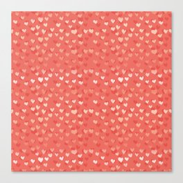 Hearts in coral Canvas Print