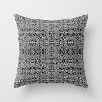 cyberpunk Throw Pillows featuring Cyberpunk Silver Print Pattern  by DFLC Prints