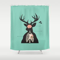 anatomy Shower Curtains featuring Deer Anatomy by Kimberly Tan