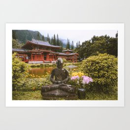 Buddha statue at The Byodo-In Temple Oahu Hawaii  Nature Landscape Travel Photography Wall Art Decor Art Print