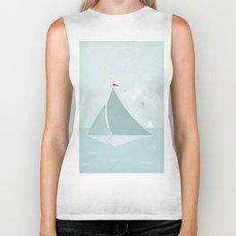 Peaceful seascape with sailboats Biker Tank