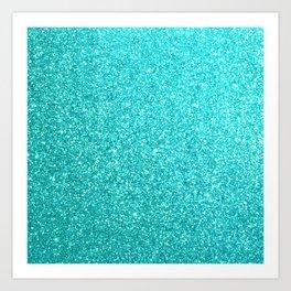 Aqua Blue Glitter Art Print