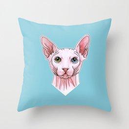 Sphynx cat portrait Throw Pillow