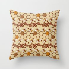 Honeycomb and Bees Throw Pillow