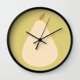 Minimal Pear Fruit - Green Wall Clock