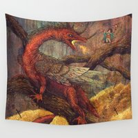 smaug Wall Tapestries featuring Dragons Lair by Angela Rizza