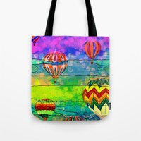 hot air balloons Tote Bags featuring Hot Air Balloons #6 by Music of the Heart