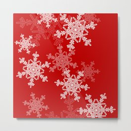 Red snowflakes Metal Print