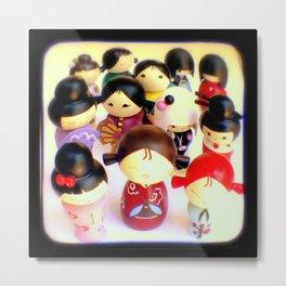 Kokeshi Dolls Metal Print