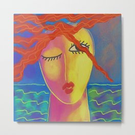 Heat Colorful Abstract Digital Painting of a Red Haired Woman Metal Print