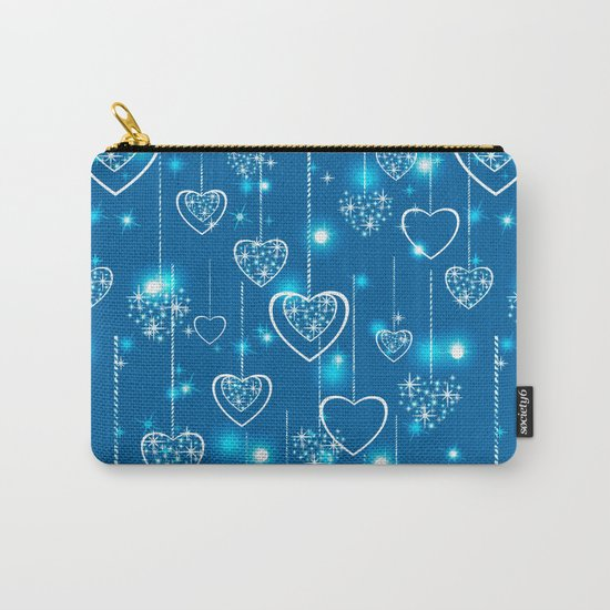 Bright openwork hearts on a light blue background. Carry-All Pouch