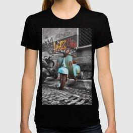 Blue Vespa Street Photography Art Graffiti in Bologna  T-shirt
