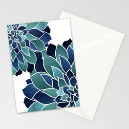 Festive, Floral Prints, Navy Blue and Teal on White Stationery Cards