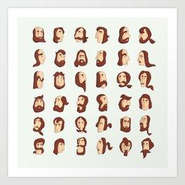 Armenian Beard Alphabet Art Print
