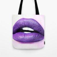 lips Tote Bags featuring Lips by Wanker & Wanker