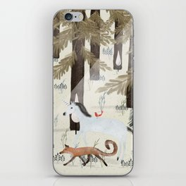 the fox and unicorn iPhone Skin