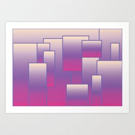 Violet and Pink Rectangular Geometric Pattern with Gradient Art Print