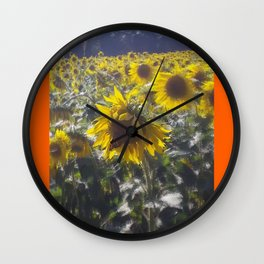 Butterfly and Sunflowers Wall Clock
