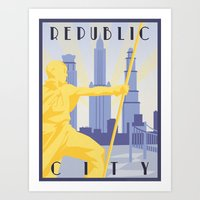 travel poster Art Prints featuring Republic City Travel Poster by HenryConradTaylor