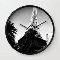 eiffel Wall Clocks featuring Eiffel by Melynda Nichole