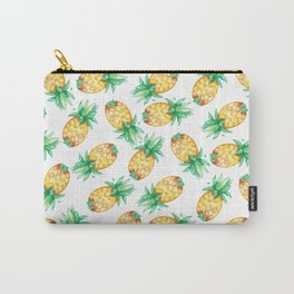 Tropical sunshine yellow green watercolor pineapple Carry-All Pouch