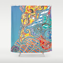 Bright Bear Shower Curtain