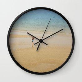 A Man on La Concha Beach in San Sebastian, Spain Wall Clock