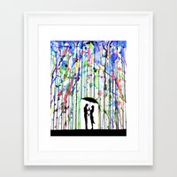 watercolour Framed Art Prints featuring Pour Deux by Marc Allante