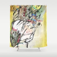 archan nair Shower Curtains featuring Dusk by Archan Nair
