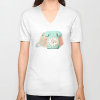 telephone V-neck T-shirts featuring Telephone by Paint Your Idea