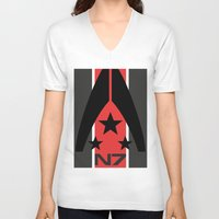 n7 V-neck T-shirts featuring N7 MASS EFFECT by MDRMDRMDR