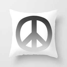 Black Fade CND Peace Symbol on White Throw Pillow