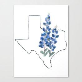 texas // watercolor bluebonnet state flower map Canvas Print