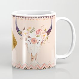 Bull Head Skull Boho Flowers Coffee Mug