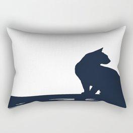Black Cat  Sitting On the Fence Rectangular Pillow