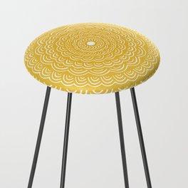 Spiral Mandala (Yellow Golden) Curve Round Rainbow Pattern Unique Minimalistic Vintage Zentangle Counter Stool