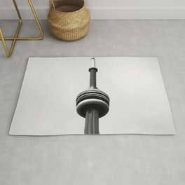 Canada Photography - The CN Tower Under Gray Clouds Rug
