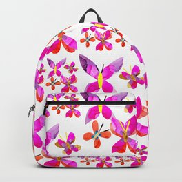 Pink Butterfly Pattern Backpack