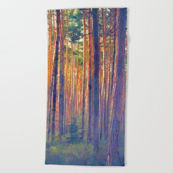 Forest - Filtering light Beach Towel