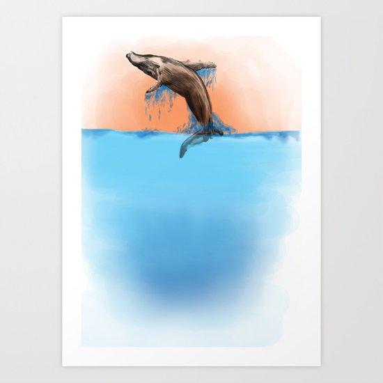 Breaching Whale Art Print