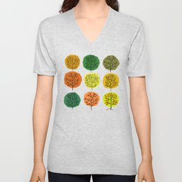 Tidy Trees All In Pretty Rows Unisex V-Neck