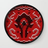 warcraft Wall Clocks featuring Ugly Sweater 2 by SlothgirlArt