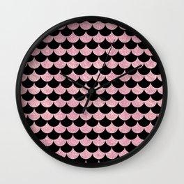 Mermaid Scales Pink Rose Gold Metallic Wall Clock