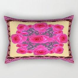 Fuchsia-Red Roses Yellow-purple Abstract Rectangular Pillow