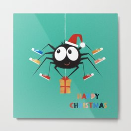 Happy Christmas Santa Spider Metal Print
