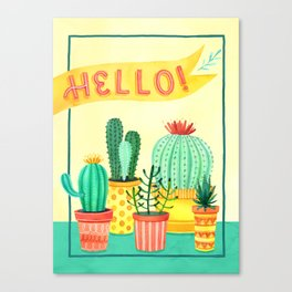 Hello! Colorful Watercolor Cactus and Succulent in Patterned Planters Canvas Print