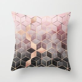 Pink And Grey Gradient Cubes Deko-Kissen