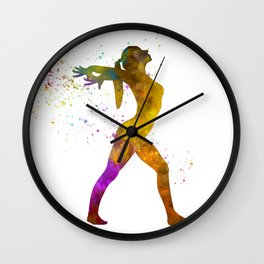 Young woman practices rhythmic gymnastics in watercolor 11 Wall Clock
