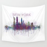 broadway Wall Tapestries featuring NY New York City Skyline v5 by HQPhoto